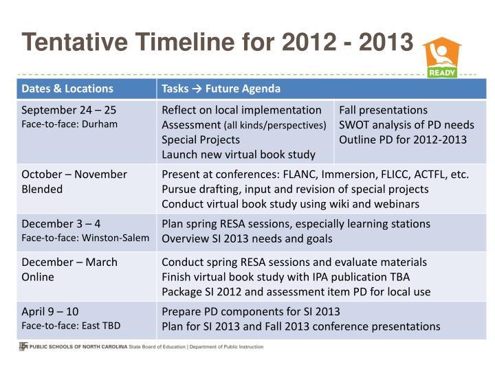 Tentative Timeline for 2012 - 2013