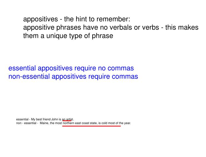 appositives - the hint to remember: