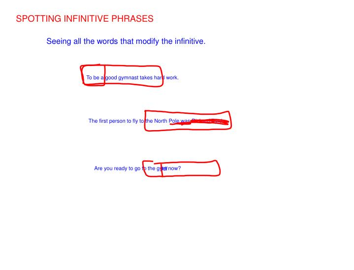 SPOTTING INFINITIVE PHRASES