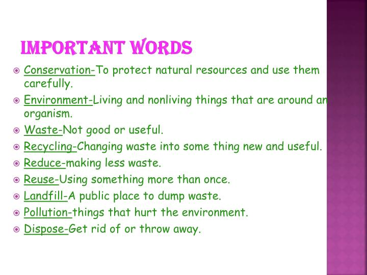 Important words