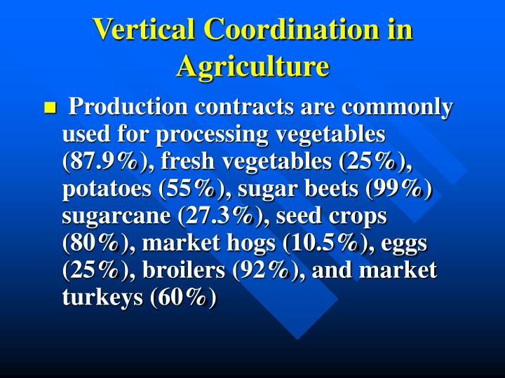 Vertical Coordination in Agriculture