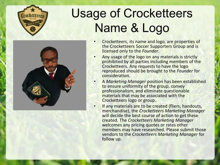 Usage of Crocketteers Name & Logo