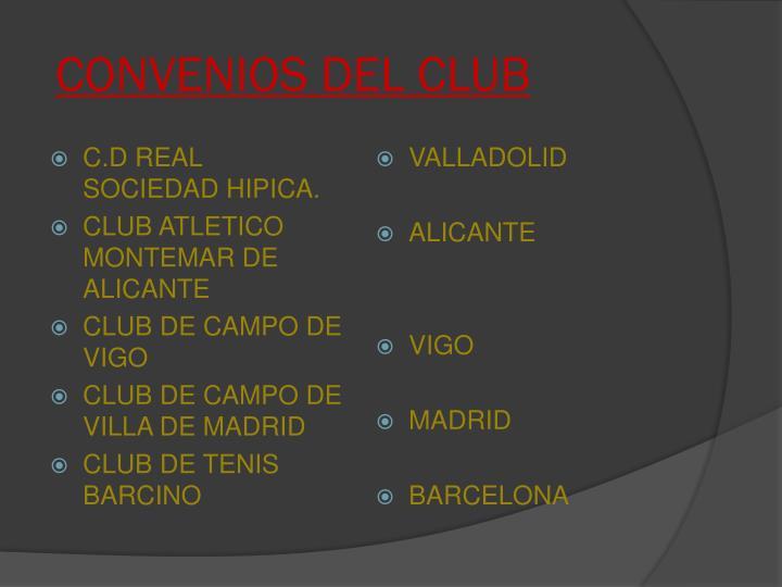 CONVENIOS DEL CLUB