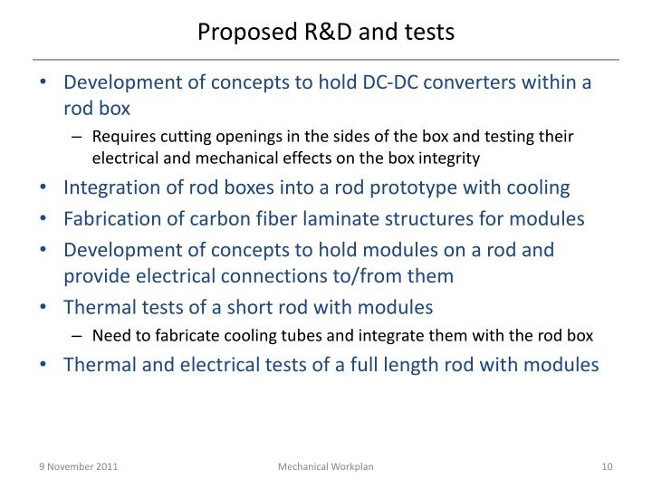 Proposed R&D and tests