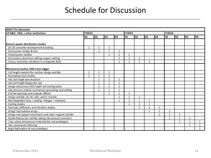 Schedule for Discussion