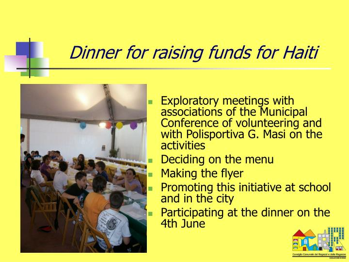 Dinner for raising funds for Haiti