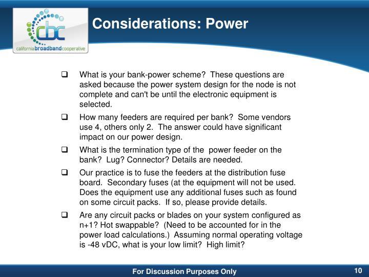 Considerations: Power