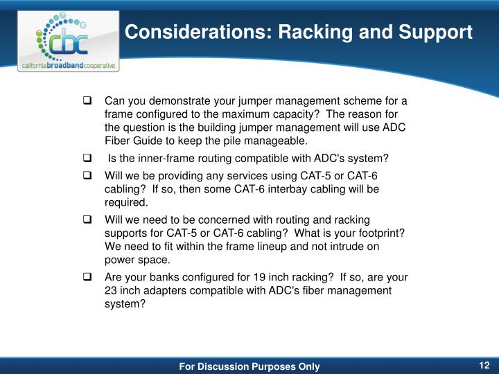 Considerations: Racking and Support