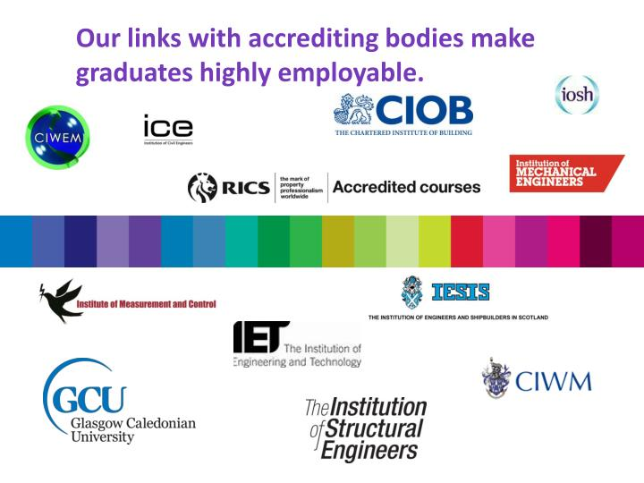Our links with accrediting bodies make graduates highly employable.