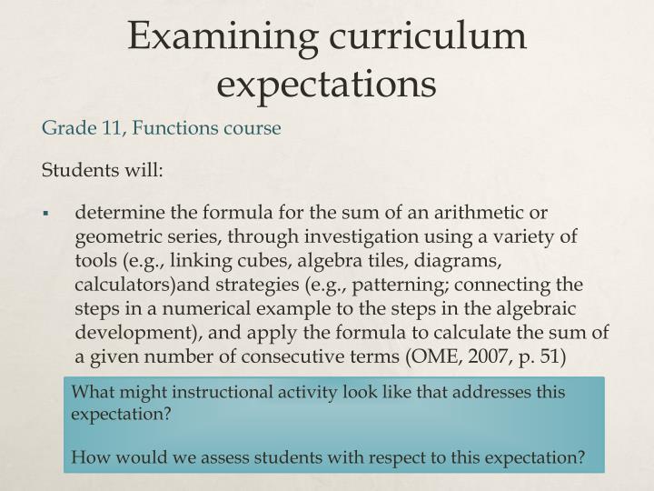 Examining curriculum expectations