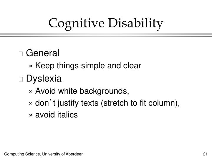 Cognitive Disability