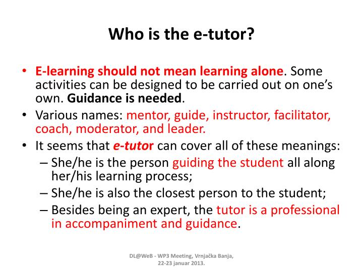 Who is the e tutor