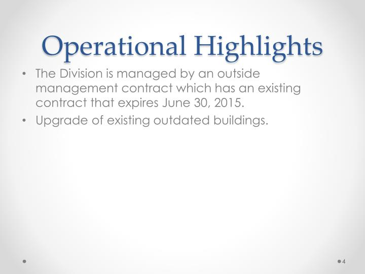 Operational Highlights