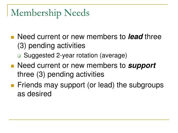 Membership Needs