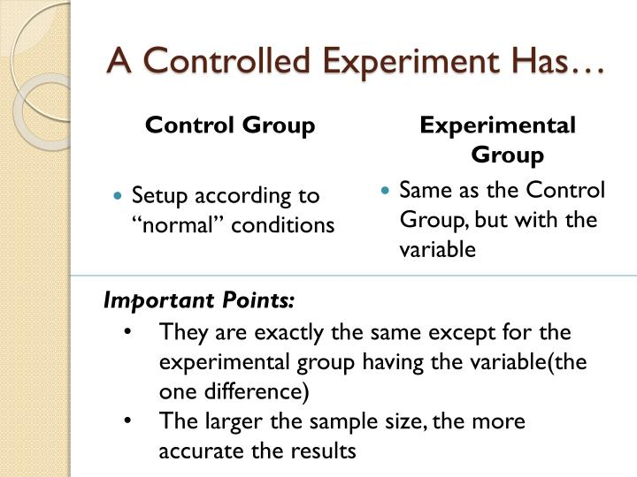 A Controlled Experiment Has…