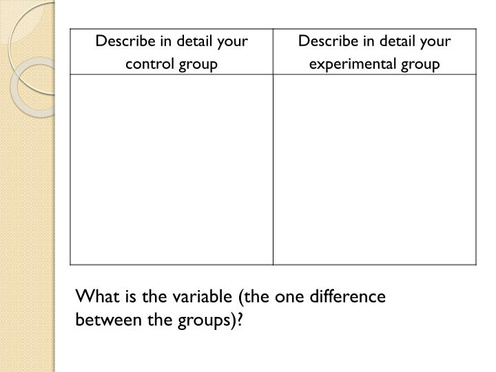 What is the variable (the one difference between the groups)?
