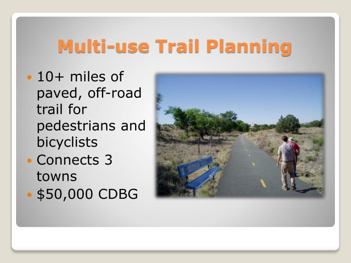 10+ miles of paved, off-road trail for pedestrians and bicyclists
