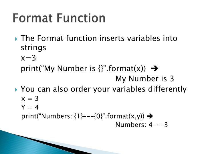 Format Function