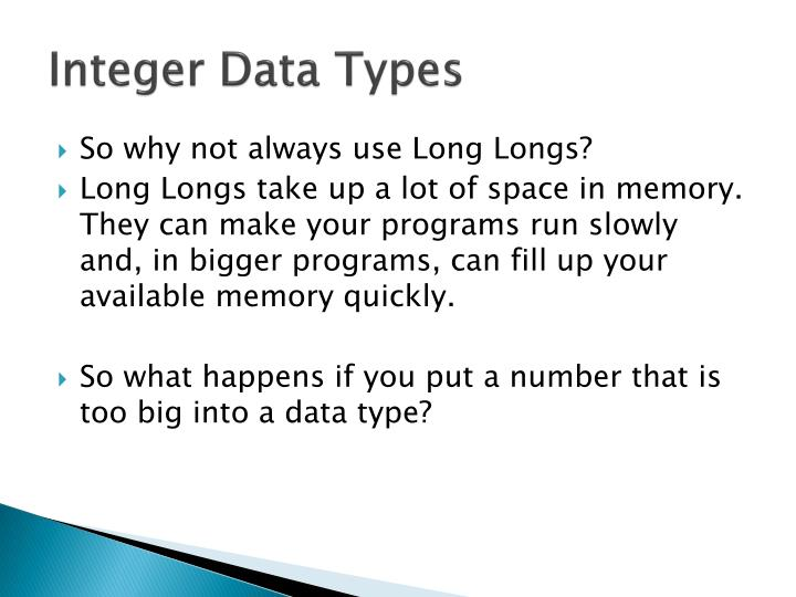 Integer Data Types