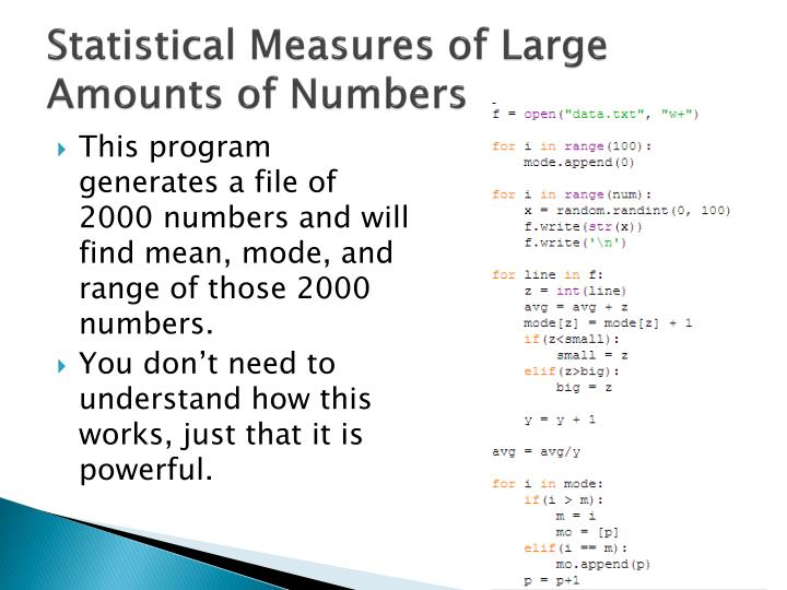 Statistical Measures of Large Amounts of Numbers