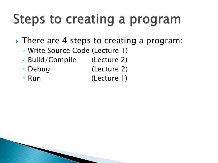 Steps to creating a program