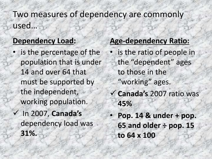 Two measures of dependency are commonly used…