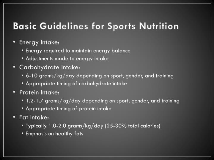 Basic Guidelines for Sports Nutrition