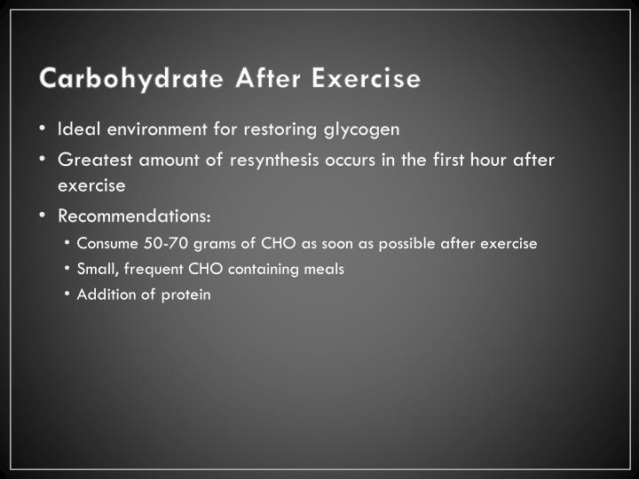 Carbohydrate After Exercise
