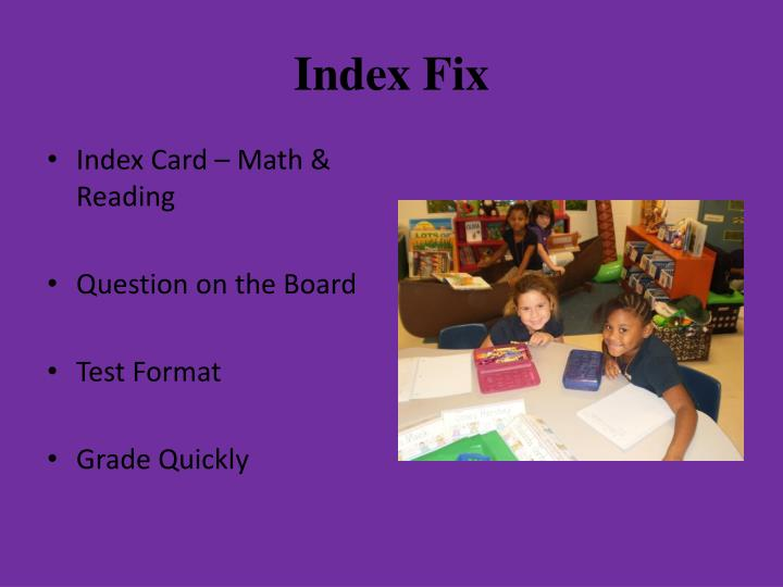 Index Fix