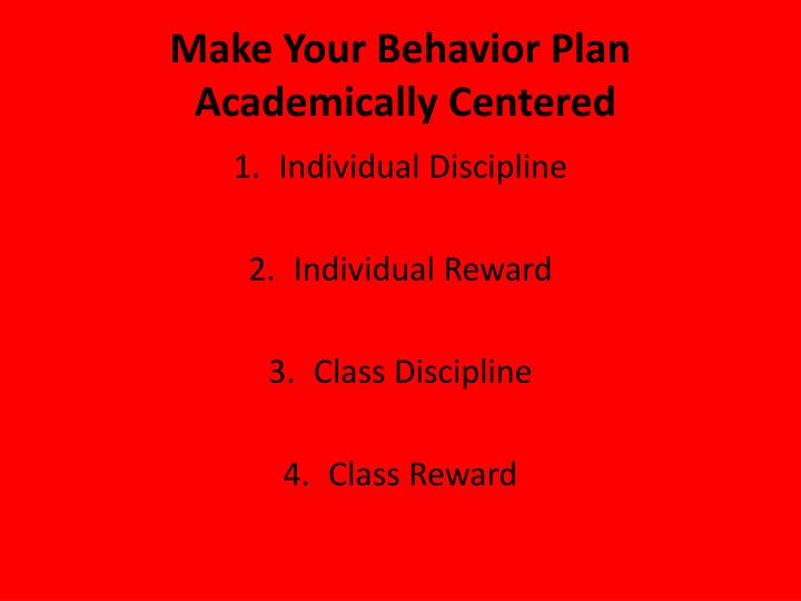 Make Your Behavior Plan