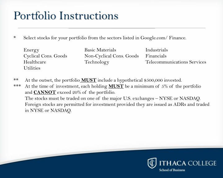 Portfolio Instructions