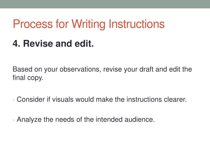 Process for Writing Instructions