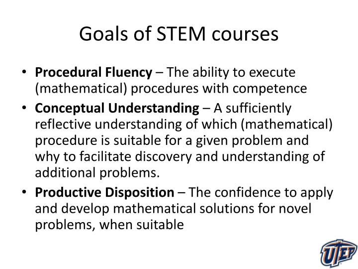 Goals of STEM courses
