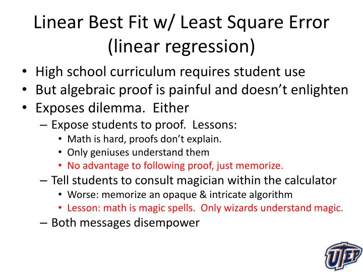 Linear Best Fit w/ Least Square Error