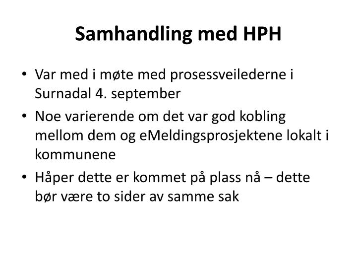 Samhandling med HPH