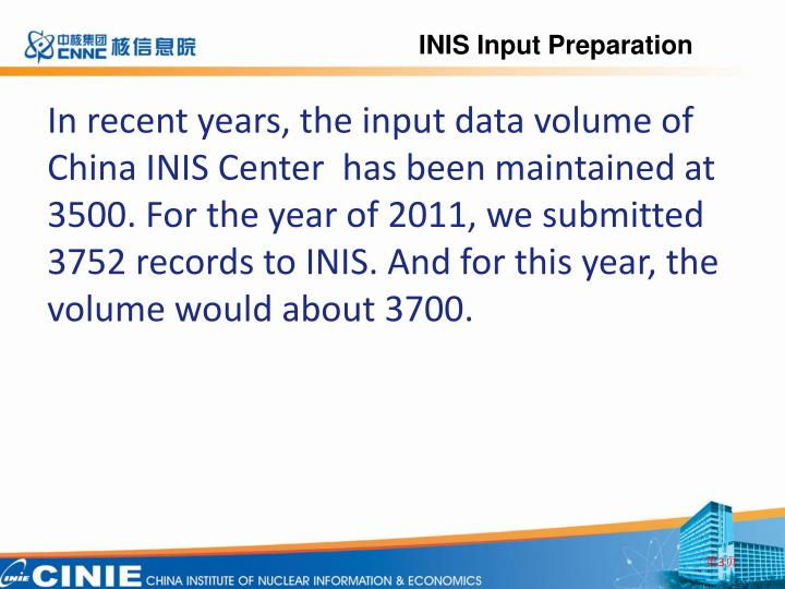 INIS Input Preparation