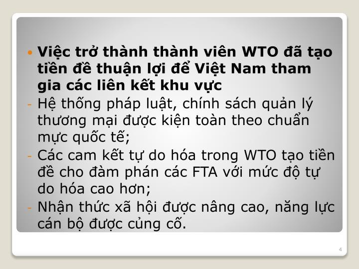 Việc trở thành thành viên WTO đã tạo tiền đề thuận lợi để Việt Nam tham gia các liên kết khu vực
