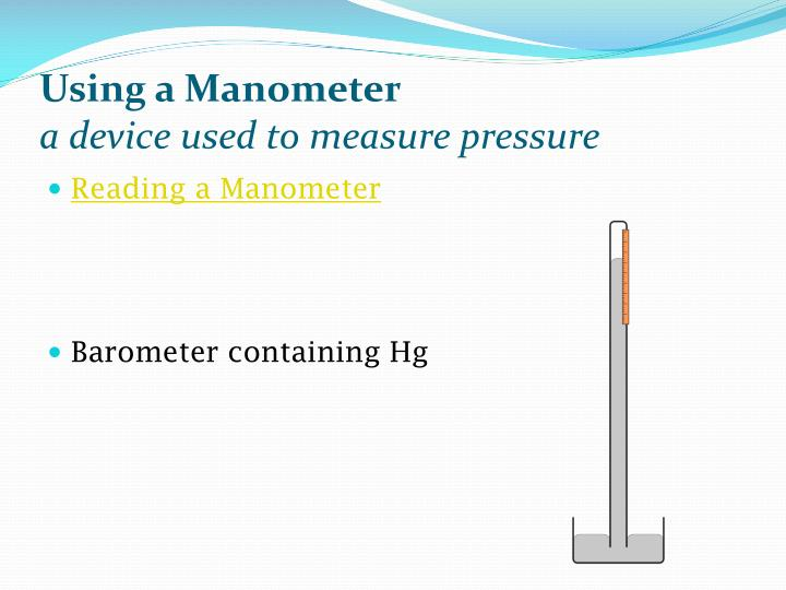 Using a Manometer