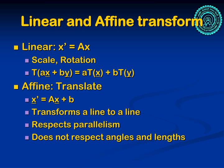 Linear and affine transform