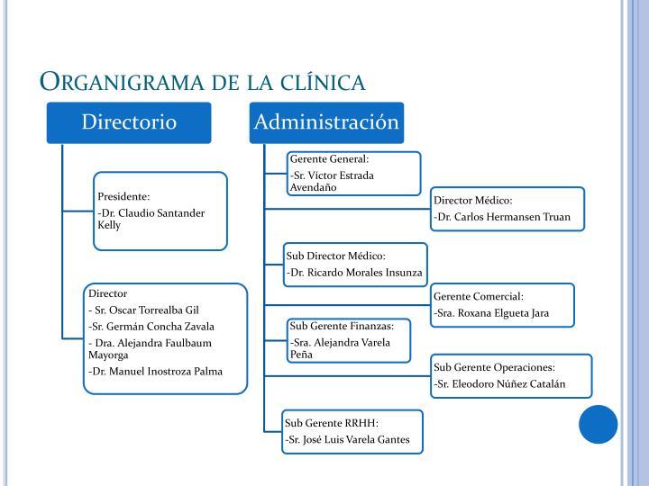 Organigrama de la clínica