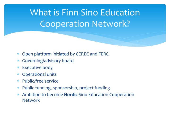 What is finn sino education cooperation network