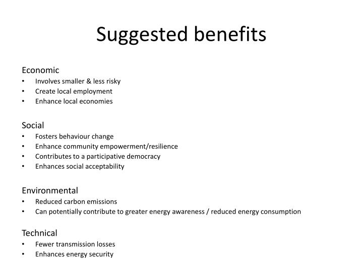 Suggested benefits