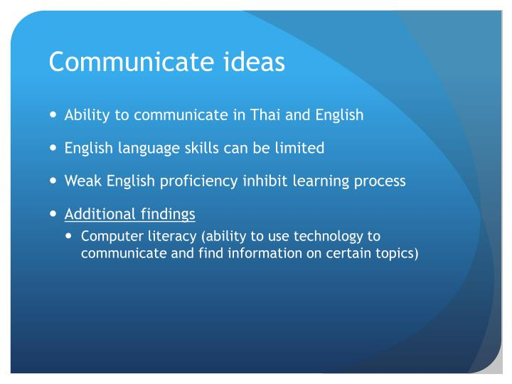 Communicate ideas