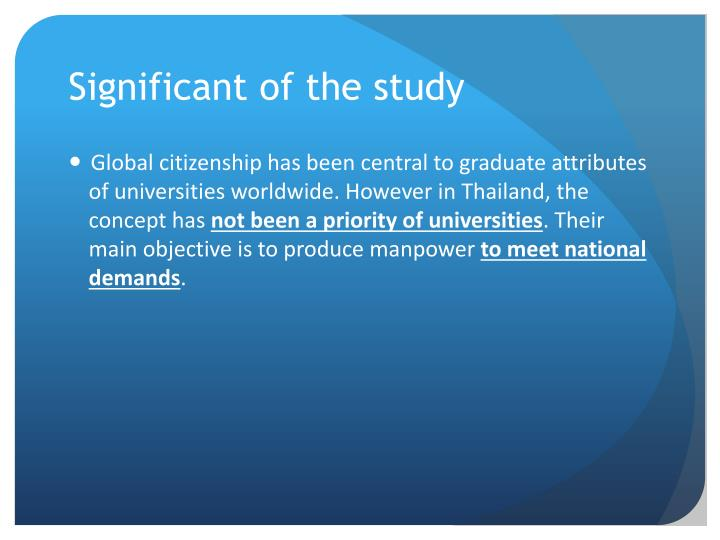 Significant of the study