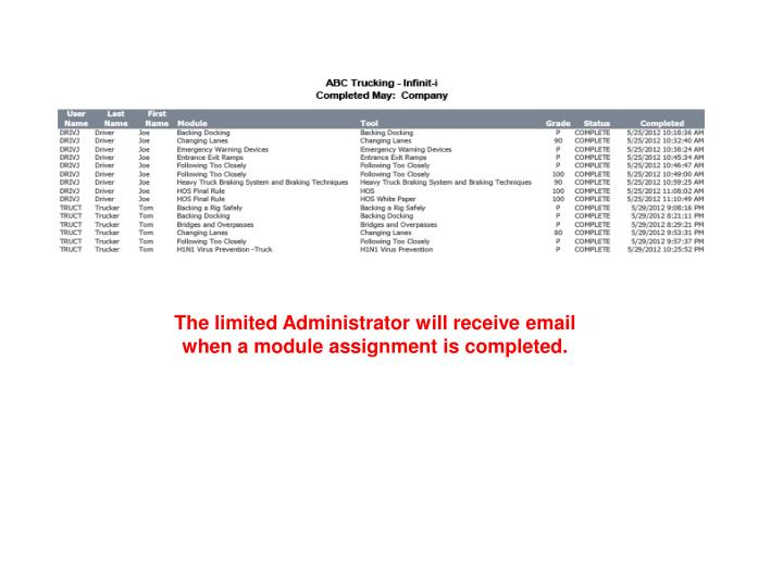 The limited Administrator will receive email when a module assignment is completed.