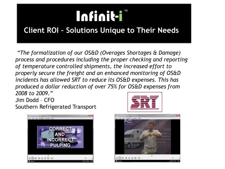 Client ROI – Solutions Unique to Their Needs