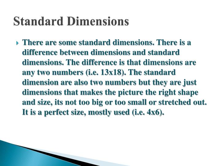 Standard Dimensions