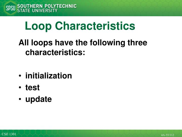 All loops have the following three characteristics: