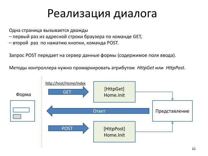 Реализация диалога