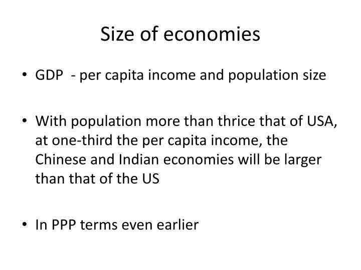 Size of economies